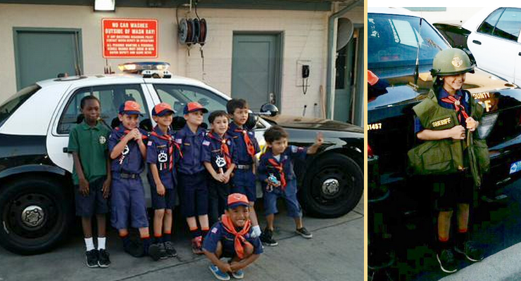 Cub Scouts Tour Altadena Sheriff's Station Yesterday