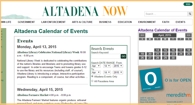 Altadena Calendar of Events is Now Live