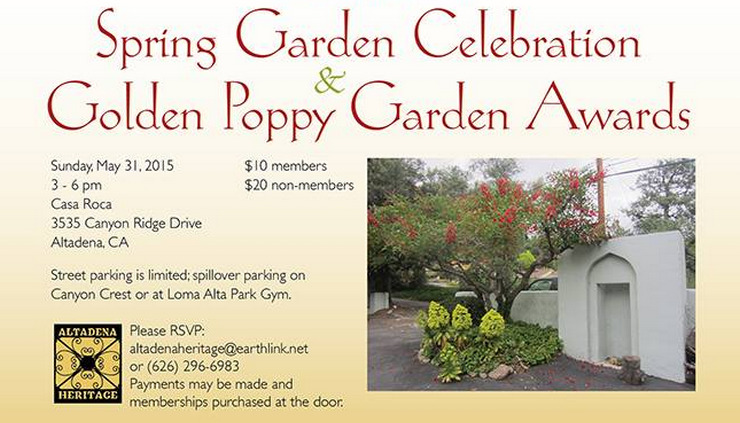 Altadena Heritage Announces Spring Garden Celebration and Golden Poppy Garden Awards Date