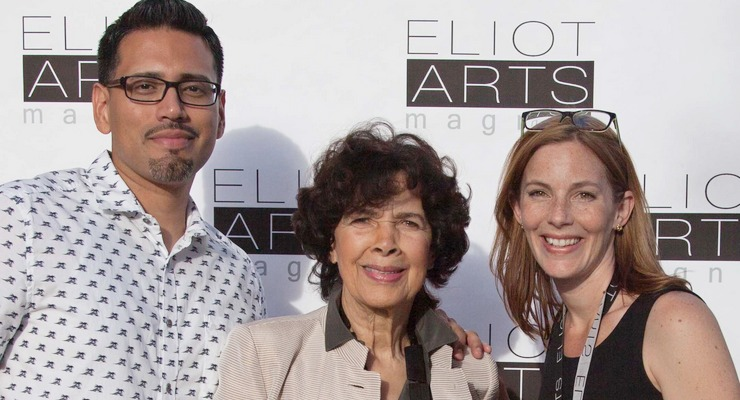 Artis Lane, world famous artist and sculptor, attends Eliot Arts Magnet's Grand Re-opening April 30. Artis Lane with Eliot's Artist in Residence Nery Lemus and Magnet Coordinator Shannon Mumolo.