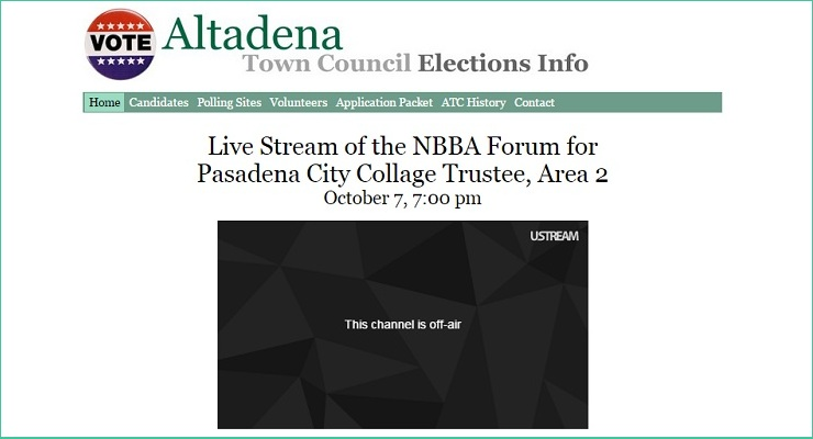 AltadenaElection.org to Live-Stream Candidate Forum