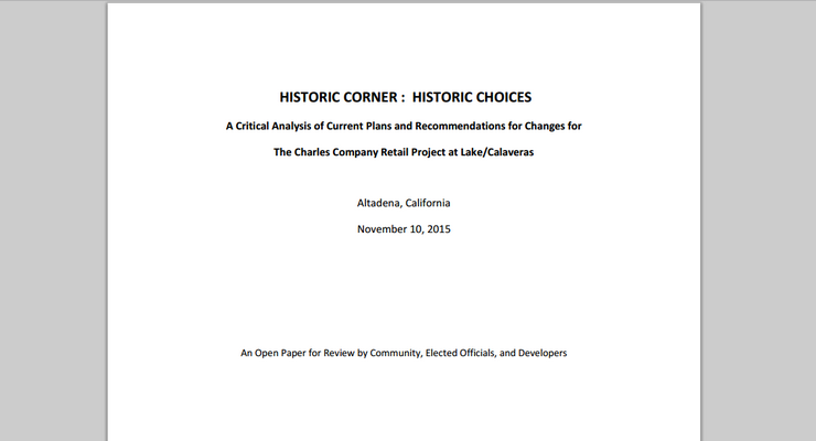 "Altadena Town Council Expected to be Asked to Sign on to NBBA's ""Historic Corner: Historic Choices"" White Paper"