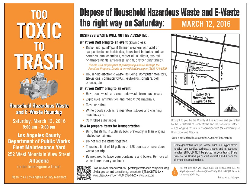 Free Household Hazardous Waste Roundup for Altadena, 3/12