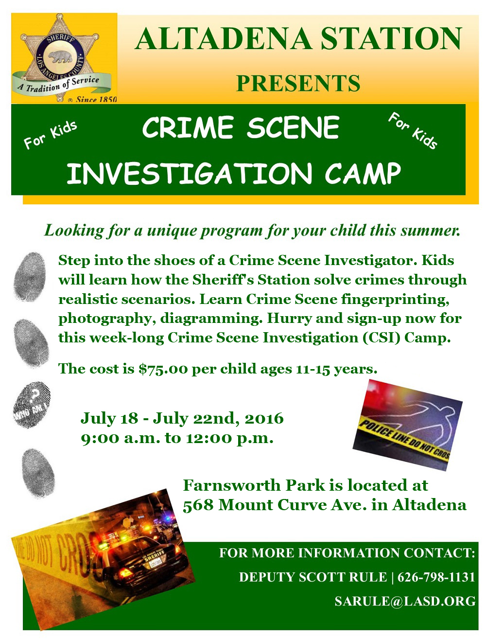 Altadena Station Crime Scene Investigation Camp for Kids