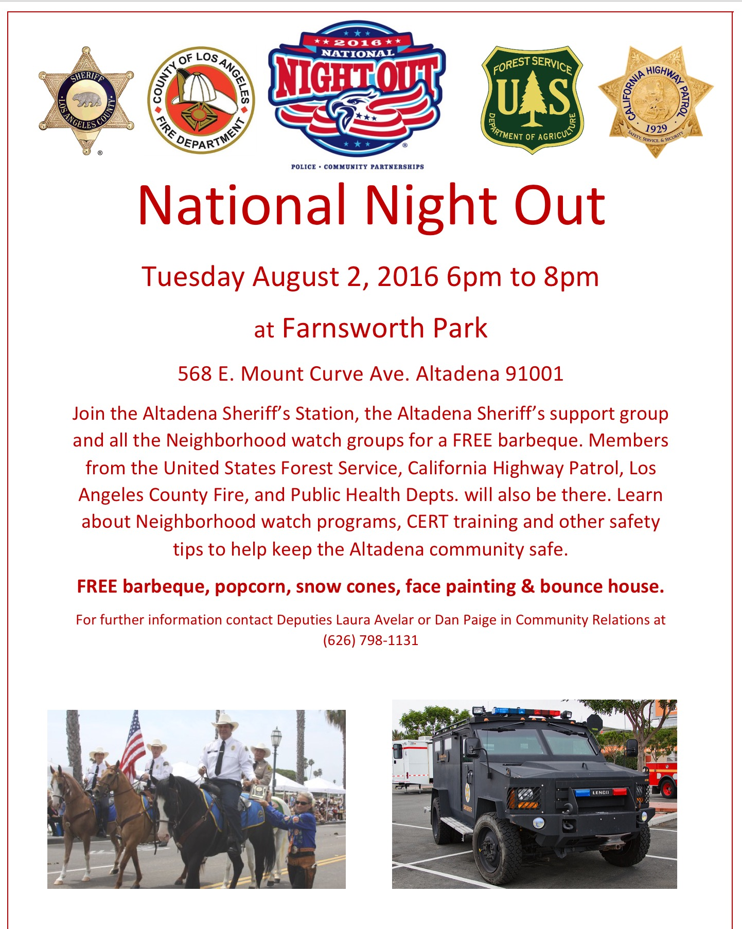Altadena Sheriff's Station hosting National Night Out at Farnsworth Park