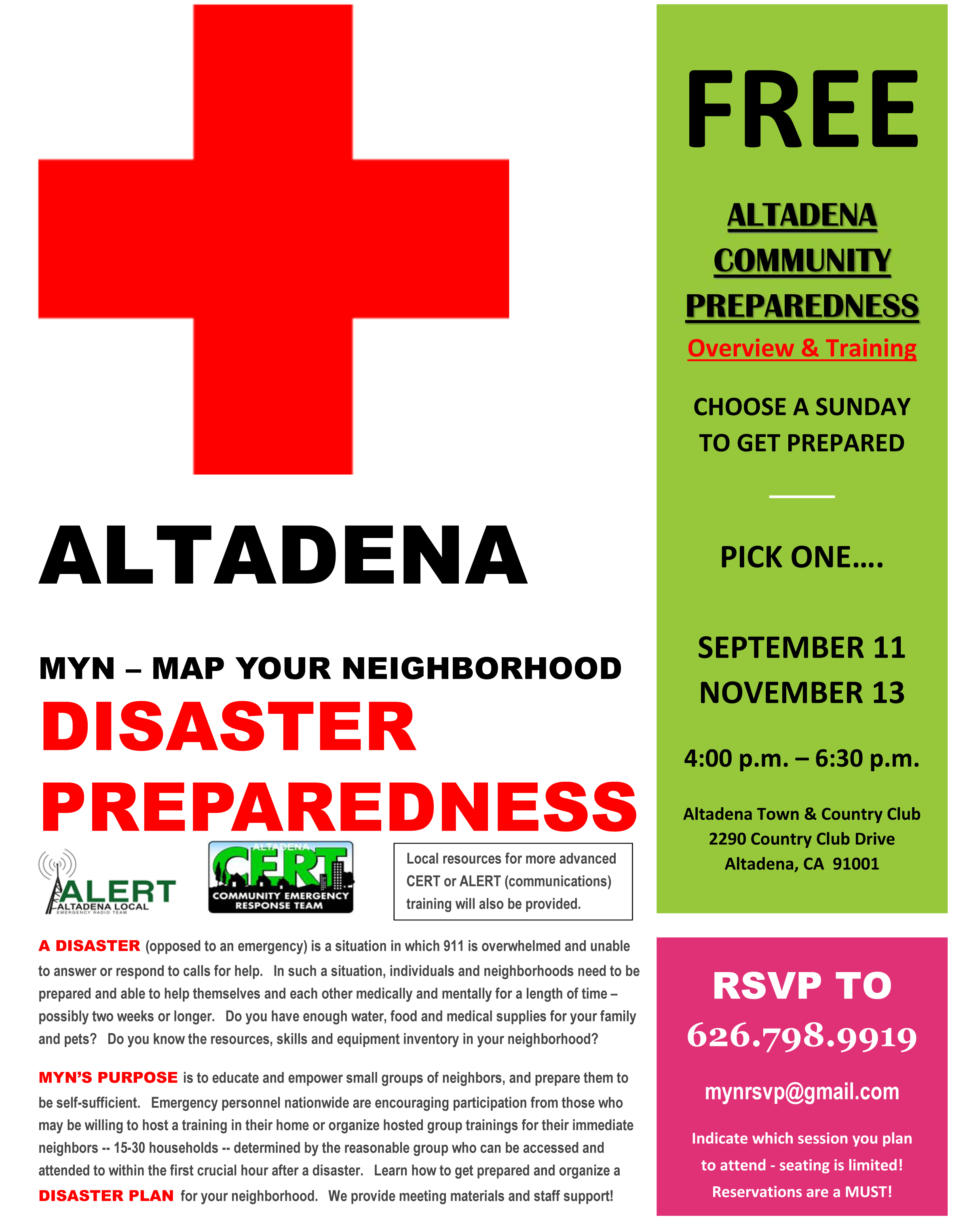 Map Your Neighborhood Disaster Preparedness Training to be Held at Altadena Country Club