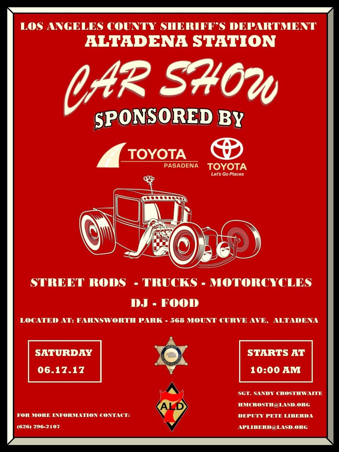 Altadena's 5th Annual Car Show to be Held at Farnsworth Park, Saturday June 17