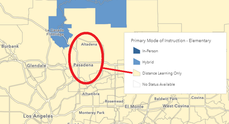 Pasadena, Altadena Both Remain As Distance Learning Only on State's New School Reopenings Interactive Map